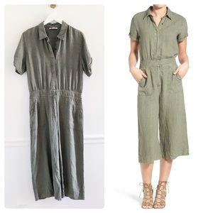 7FAM Green Linen Utility Culottes Jumpsuit